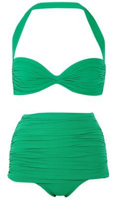 Norma Kamali Swimsuit, swim, swimsuit, summer, beach, pool, green swimsuit, two piece swimsuit, bikini, high waisted swimsuit