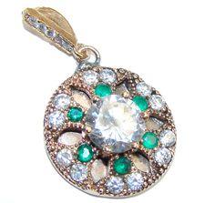 $26.95 Perfect+created+Emerald+&+White+Topaz+Sterling+Silver+Pendant at www.SilverRushStyle.com #pendant #handmade #jewelry #silver #quartz