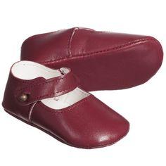 Les Enfantines Baby Girls Burgundy Pre-Walker Leather Shoes at Childrensalon.com