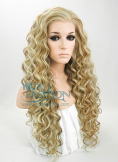 """26"""" Long Spiral Golden Blonde Mixed Brown Lace Front Synthetic Hair Wig LF179"""
