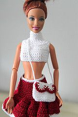 Rasspberry dream.. hid in a bag (Mae jest pikne) Tags: red white bag doll handmade crochet barbie mini skirt clothes handbag vision:people=099 vision:face=099 vision:text=0653 vision:outdoor=0858