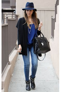 Jessica Alba in a daily denim outfit with hat and studded boots