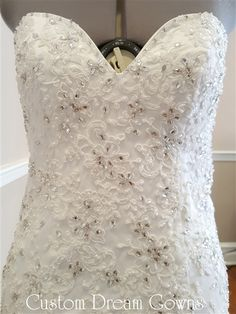 Beautiful Crystal + Lace Mermaid Wedding Dress! Custom Dream Gowns. Show-Stopping Organza and Lace…