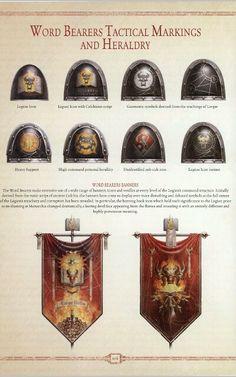 Word bearer tactical markings and heraldry