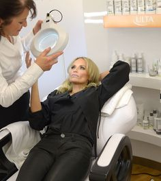 Kristin Chenoweth checking herself out during ULTA Beauty's Love Your Skin Event. #ULTA