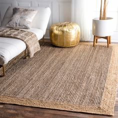 nuLOOM Alexa Eco Natural Fiber Braided Reversible Border Jute Grey Rug (6' x 9') (Grey), Beige, Size 6' x 9'