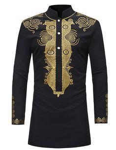 Pizoff Mens Long Sleeve Luxury Design Print Dress Shirt TB0717-3