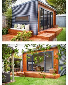 Prefab shipping container homes в 2019 г. backyard office, c Backyard Office, Backyard Studio, Backyard Sheds, Container House Design, Tiny House Design, Cabin Design, Studio Shed, Casas Containers, Tiny House Cabin