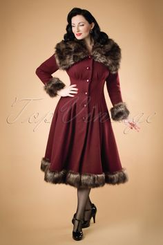 Collectif Clothing - 30s Pearl Coat in Wine Wool