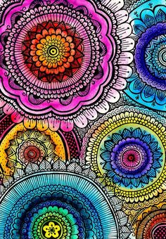 mandalas & doodling combined, nice! by Goyye. There is energy healing drawing, tracing or coloring mandalas. balancedwomensblog.com