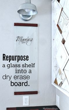 Upcycled Glass Dry Erase Board
