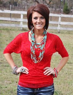 Giddy Up Glamour  Red Animal Print Simple Tunic  $14.95