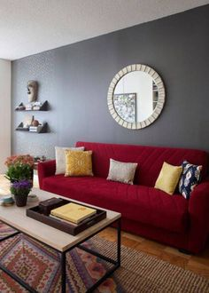 Paint, Simple Dark And Light Grey Combination For Best Colors To Paint Living Room Walls With Red Comfy Fabric Sofa And Colorful Pillows And Light Brown Rectangle Ceramic Floors And Big Round White Ivory Ornamen: Paint Living Room Walls Best Colors To Choose From