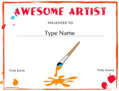 Art award certificate free printable pinterest pdf certificate makerte idea to present to the kids if we have an yelopaper Image collections