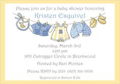 Clothesline Boy Baby Shower Invitations in blue and yellow