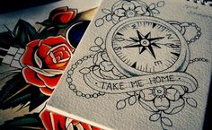"""I like this compass but with """"Not all those who wander are lost"""" in the scroll. And super colorful :) This will go on my right side ribs."""