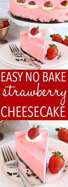 This Easy No Bake Strawberry Cheesecake is the perfect summer no bake dessert that's bursting with fruit flavours! Perfect for barbecues and summer parties! Recipe from thebusybaker.ca! #strawberrycheesecake #nobakestrawberrydessert #summerdesserts via @busybakerblog