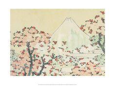 Mount Fuji seen through Cherry Blossom Kunsttryk by Katsushika Hokusai at Art.com