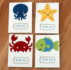 10 Under the Sea Thank You Cards Under the Sea by AngiesDesignz