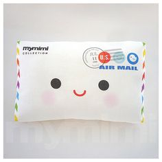 Decorative Pillow, Air Mail Envelope, Envelope, Cushion, Throw Pillow, Kawaii Pillow , Room Decor, Novelty, Childrens Toys, 9 x 6""