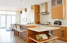 Located in the popular Wicker Park neighborhood, this modern and warm home features a bright and airy kitchen with light woods, modern appliances, and plenty of counter space. Rate: $1250/night   - HouseBeautiful.com