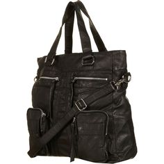 Black Washed Zippy Tote Bag ($76) ❤ liked on Polyvore