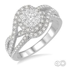 1 1/10 Ctw Round Cut Diamond Lovebright Engagement Ring in 14K White Gold