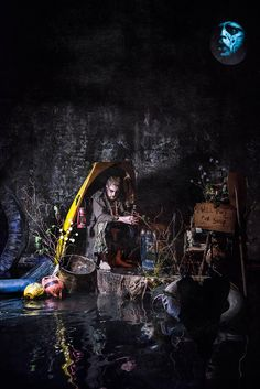 The Mock Turtle in the Sea of Tears. from Alice's Adventures Underground, By Les Enfants Terribles, and Designed by Samuel Wyer. An immersive theatre production in London of Alice Through the Looking Glass and Alice in Wonderland Photograph by Rah Petherbridge