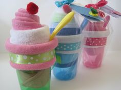"""Washcloth Sundaes   Slumber Party! put in a """"swag bag"""" of beauty and paper stuff!"""
