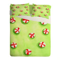 Rosie Brown Christmas Candy Sheet Set Lightweight   DENY Designs Home Accessories   #bed #sheets #homedecor #christmas #art #denydesigns #children