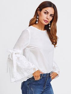 To find out about the Belted Eyelet Embroidered Fluted Sleeve Top at SHEIN, part of our latest Blouses ready to shop online today! Fashion Wear, Hijab Fashion, Fashion Outfits, Blouse Styles, Blouse Designs, Sleeves Designs For Dresses, Trendy Tops, Stylish Dresses, Lace Tops
