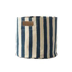 Stripe Storage Bin in Sailor - perfect storage + decor in a nautical nursery! Modern Nursery Decor, Nautical Nursery, Nursery Ideas, Room Ideas, Cabin Chic, Nursery Storage, Beach Room, Decorative Storage, Toys Shop
