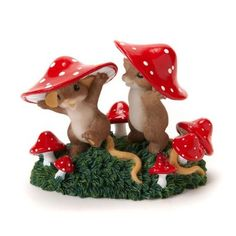 """Charming Tales Mice with Red mushroom hat Figurine 2.875"""""""