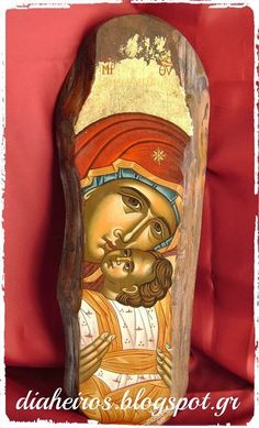 PANAGIA GLIKOFILOUSA Religious Pictures, Religious Icons, Religious Art, Byzantine Icons, Byzantine Art, Stone Painting, Painting On Wood, Wooden Owl, Blessed Mother Mary