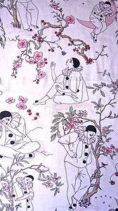 VINTAGE PIERROT FRENCH CLOWN COTTON FABRIC 1980'S
