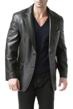Looking for BGSD Men's Black Leather Blazer Lambskin Sport Coat Jacket (Regular Big & Tall Short) ? Check out our picks for the BGSD Men's Black Leather Blazer Lambskin Sport Coat Jacket (Regular Big & Tall Short) from the popular stores - all in one. Black Leather Blazer, Mens Leather Coats, Lambskin Leather, Leather Jackets, Soft Leather, Oversized Fashion, Men's Coats And Jackets, Outerwear Jackets, Blazers For Men