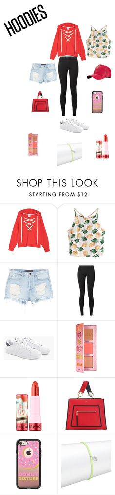 """Red Hoodie😘"" by tristadavis10 on Polyvore featuring Good American, WithChic, Alexander Wang, The Row, J.Crew, Benefit, Sephora Collection, Casetify, Alex Woo and Hoodies"