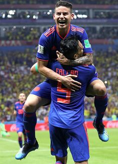Radamel Falcao of Colombia celebrates with teammate James Rodriguez after scoring his team's second goal vs. James Rodriguez, Colombia Soccer, World Cup, Captain America, Spiderman, Football, Goals, Superhero, Celebrities