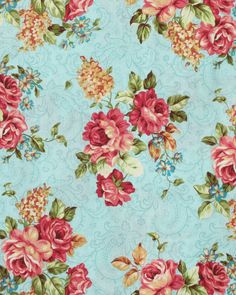 Shabby Cottage Pink Roses Turquoise