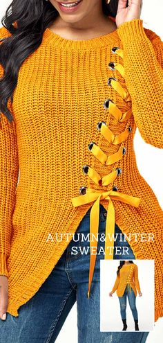 Autumn and winter can still be fashionable. Lace Sweater, Long Sleeve Sweater, Sweater Cardigan, Sweater Knitting Patterns, College Outfits, Cute Tops, Knit Crochet, Lace Up, Pullover