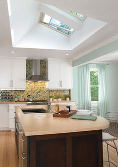 Small Kitchen With Ceiling Window | TheBestWoodFurniture.com