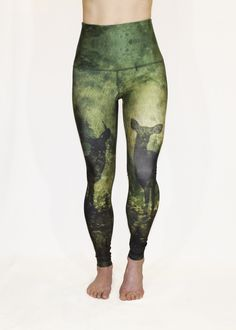Shop - $97. The Courage, Deer Heart Leggings are about having the courage to listen to your heart; to look for and find love in the wildest of places. To love another, to love each other and to love yourself. Shop this #valentinesday inspired limited edition print, only available until February 28th. #leggings #yogapants #deer #fitness #running  #trailrunning #workoutclothes #fitnessfashion #fashion #sustainablefashion #ethicalfashion #slowfashion