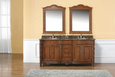 """Florentine 72"""" Double Sink Bathroom Vanity Cabinet - Cherry Finish - From Florence to your bathroom space, the Florentine collection offers the perfect blend of style and class. From the incredible handspun legs to the detailed trim, this collection boasts precision and aesthetic appeal. With the symmetrical design, the Florentine collection offers prestige for maximum versatility."""