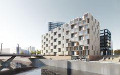 Het Weense architectenbureau heeft de ontwerpcompetitie voor de Campustower aan de Baakenhafen in Hamburg gewonnen.  Delugan Meissl DMAA render gevel grid open gesloten stapeling schakeling wit terrassen inpandig