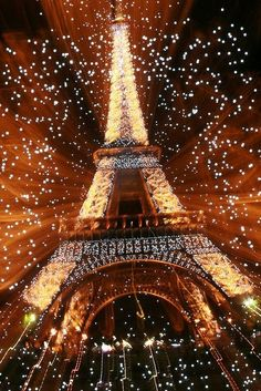 Eiffel Tower Fireworks Explosion on New Year's at Paris, France