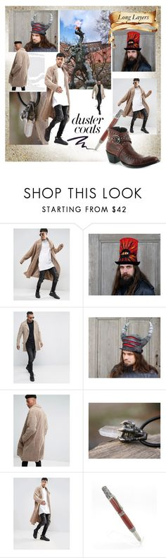 """""""Duster Coats and The Dragon"""" by canisartstudio ❤ liked on Polyvore featuring ASOS, Stila, men's fashion, menswear and DusterCoats"""