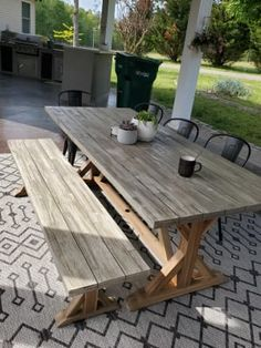 Outdoor Dining Furniture, Outdoor Decor, Trestle Dining Tables, Backyard Fences, Picnic Table, Porch, San, Patio, Rustic