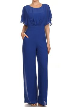 Short Flutter Sleeve Full Length Jumpsuit.