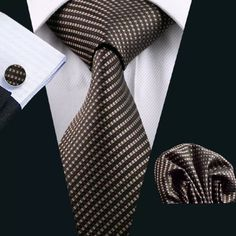 "This is a very nice coordinating  brand new silk tie set. Includes tie, pocket square (handkerchief) and cuff links.  Makes a great gift idea! 🎁    Tie length is 61"" from top to bottom. The width at the largest portion is 3.25"".    ✨Please note, this item requires three (3) weeks to ship. Please take the shipping time into consideration when placing your order. Thank you ✨    This item is available for International shipping. 🌎 