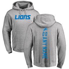 Detroit Lions Pro Line Personalized Backer Pullover Hoodie - Ash